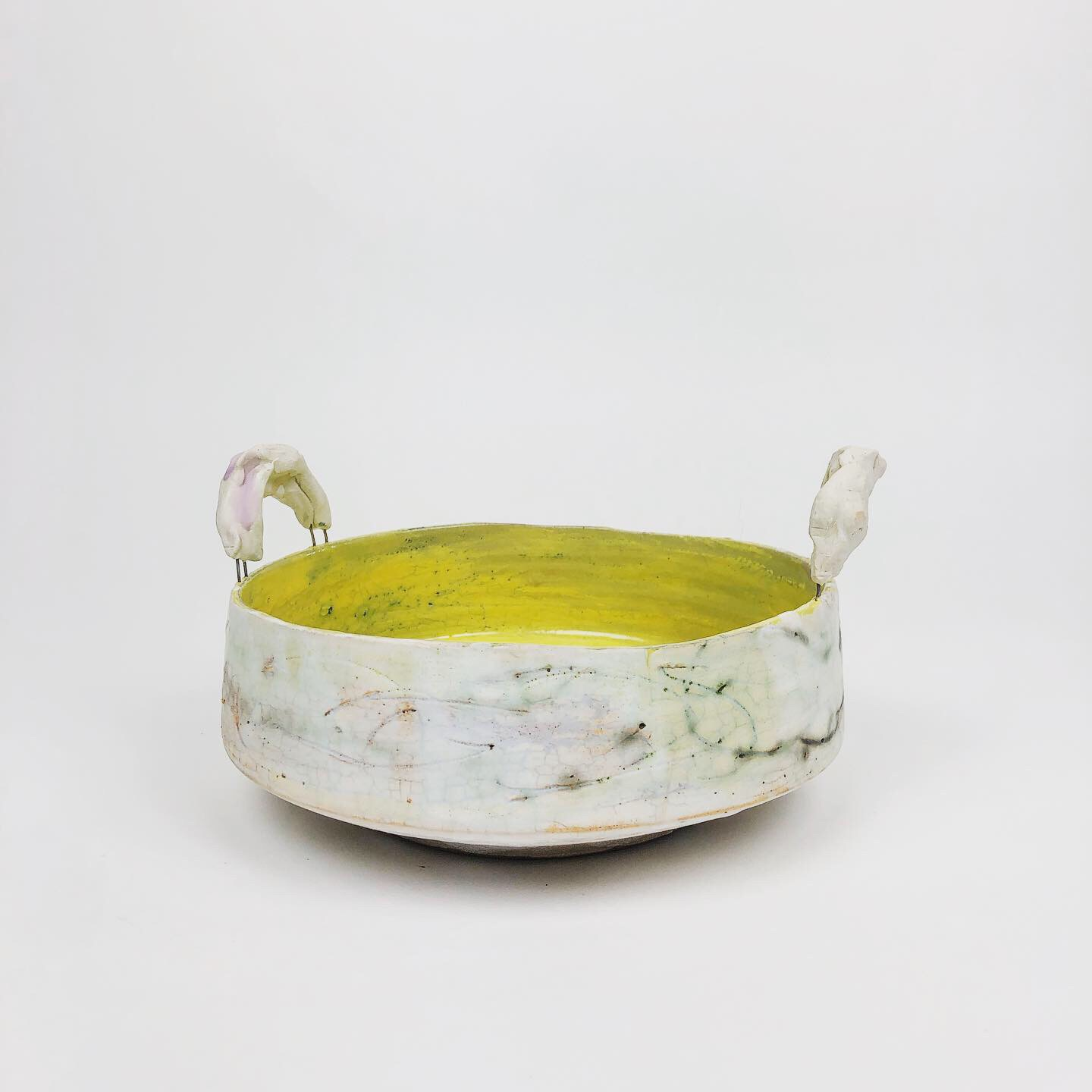 Ani Kasten Yellow Bowl With Porecelain Handles