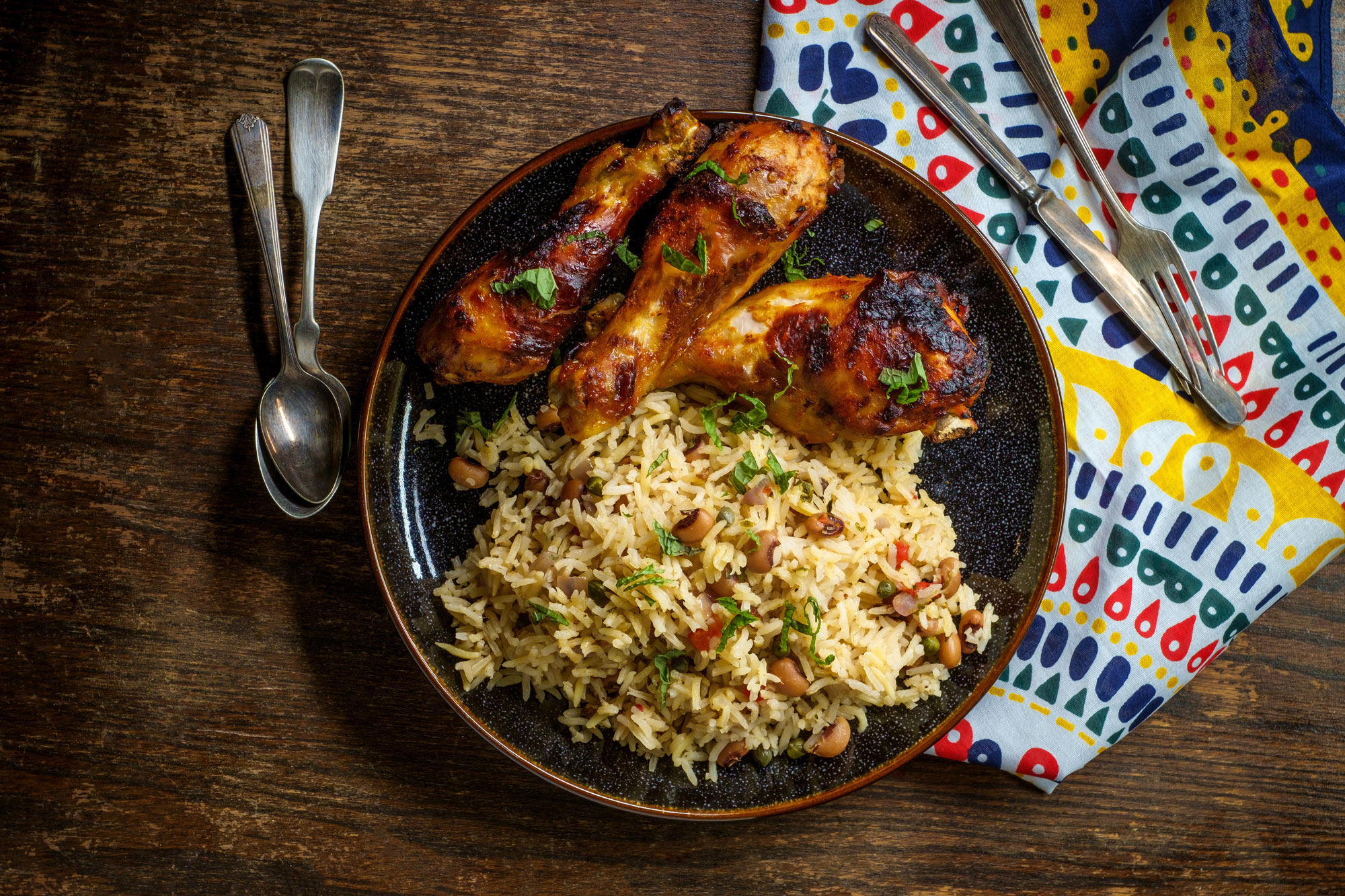 Ghanaian barbecued chicken with Jollaf rice