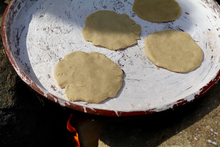 Tortillas cooking on the comal of Neftali Duran