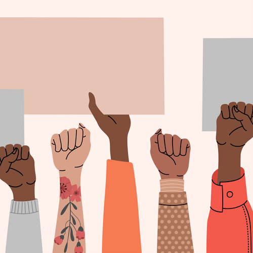 Illustration of hands holding up signs in protest