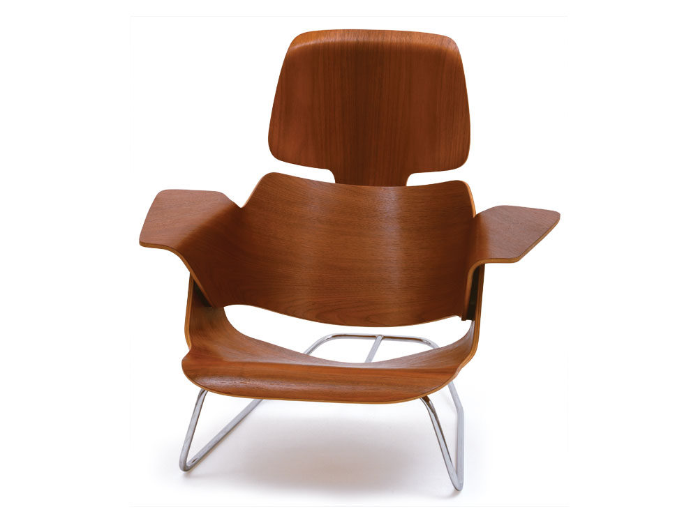 Thumbnail. Charles and Ray Eames, experimental lounge chair, c. 1944; molded  plywood ...