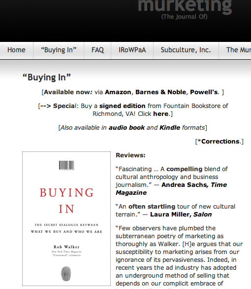 """buying in rob walker Last friday morning, i stopped by likemind to see piers, noah and others, as well as to pick up an advanced copy of the book """"buying in"""" by rob walkerhis publisher, random house, offered likemind attendees in north america free copies and kindly paid our coffee bill too."""