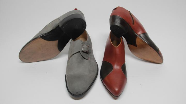 Two pairs of Amara Hark-Weber's fantastic footwear, both made with Nubuck, oiled horse, calf, and kip.