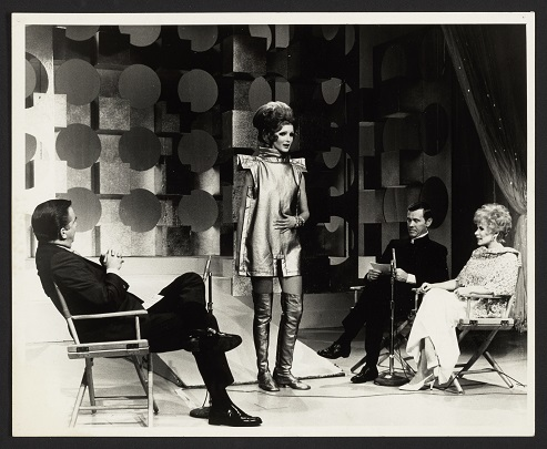 "Publicity appearance for ""Body Covering"" exhibition on NBC's the Johnny Carson Show"