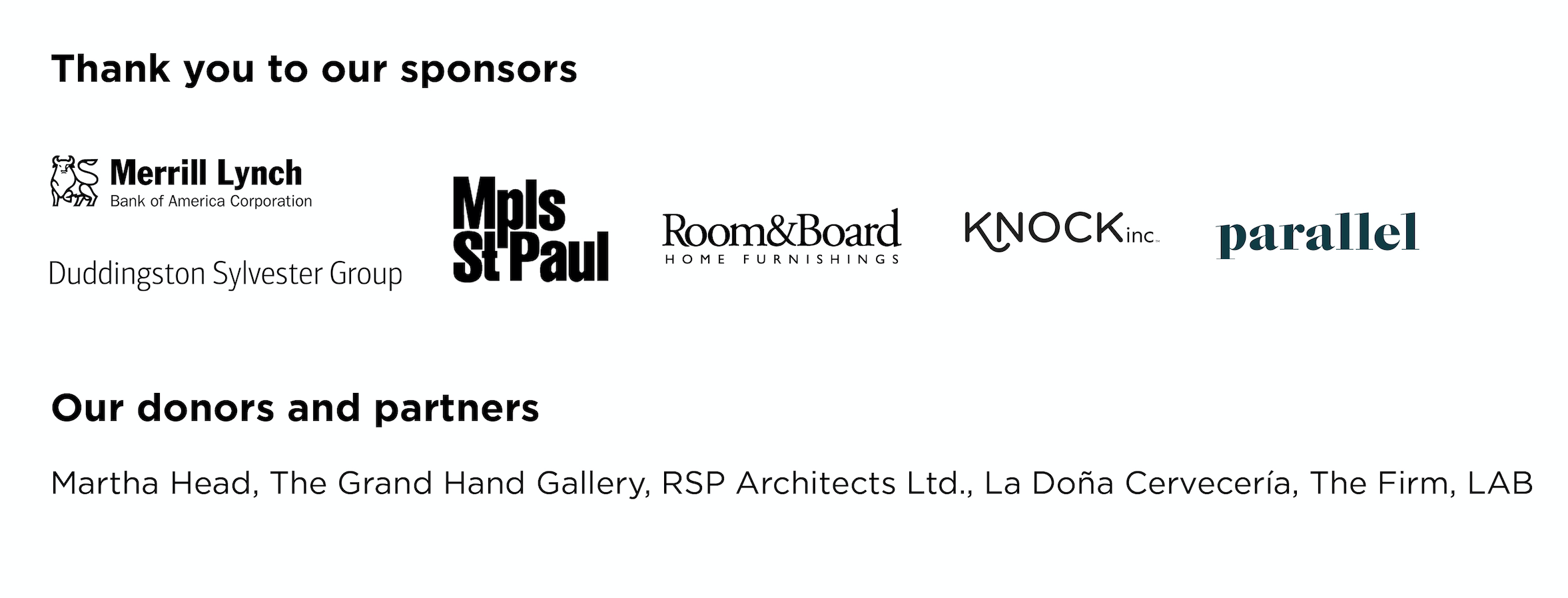 Sponsors, Partners, and Donors
