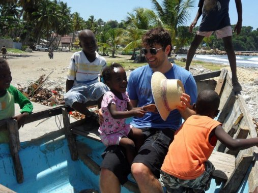 Misha Collins with Haiti kids