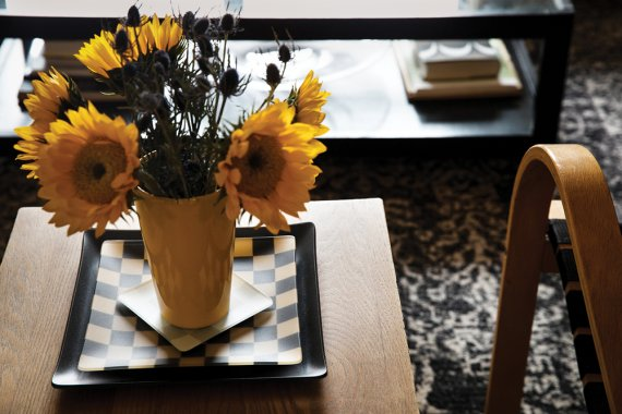 Judy Smilow Sunflowers And Stack Of Plates