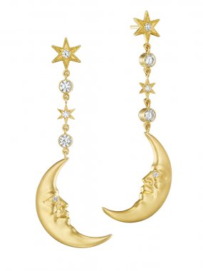 Anthony Lent Hanging Crescent Moonface Earrings