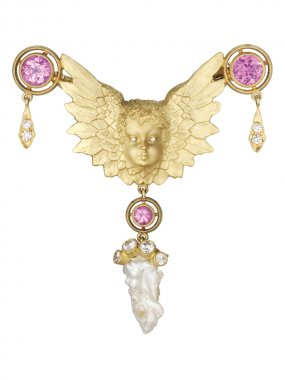 Anthony Lent Putti Brooch Necklace