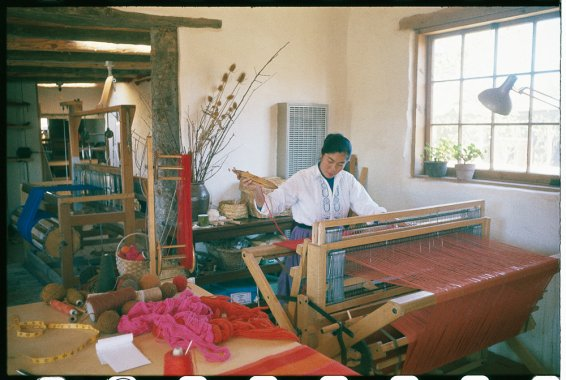 Todd Webb, Alice at the loom weaving on the rug for World's Fair exhibit