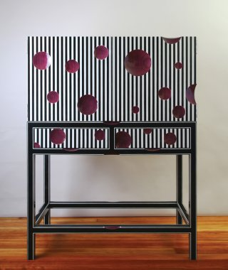 Bart Niswonger Striped Cabinet on Stand