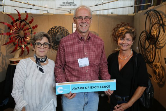 ACC executive director Sarah Schultz, artist Tom Boardman, and juror Nancy Gardner