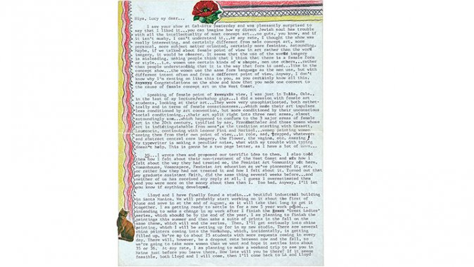 Judy Chicago letter to Lucy Lippard
