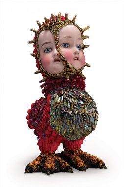 Betsy Youngquist June and Jupiter Two Headed Red Bird doll.