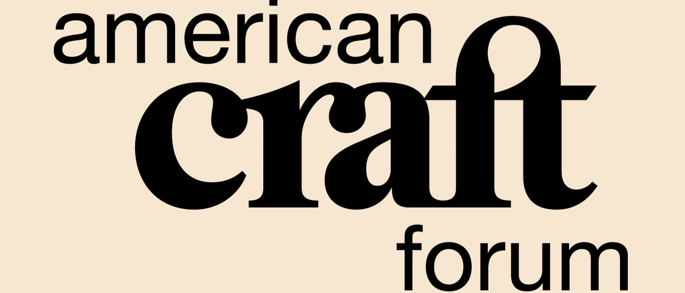 Black logo for American Craft Forum on tan background