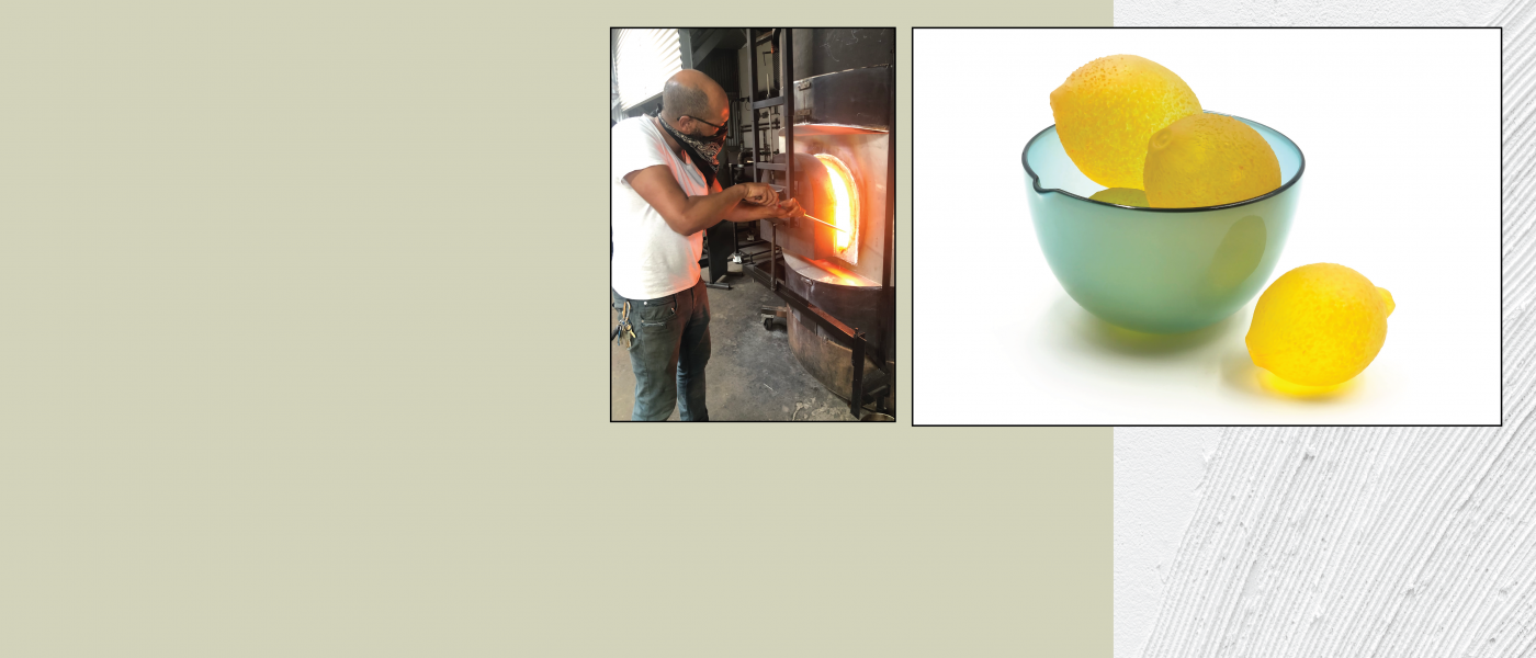 Graphics with photos of person working in glass kiln and teal bowl of yellow glass lemons