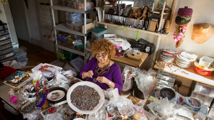 Joyce J. Scott in her studio