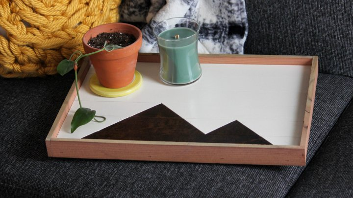 Wooden try with black and white mountain pattern on a couch with plant and other objects