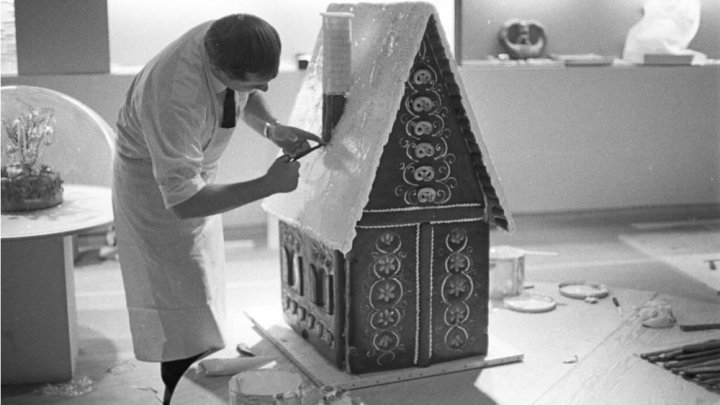 Albert Hadener with his gingerbread house