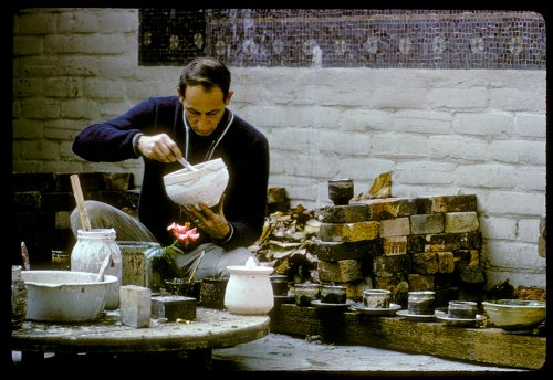 Paul Soldner preparing glazes for raku at Scripps College in Claremont, Californ