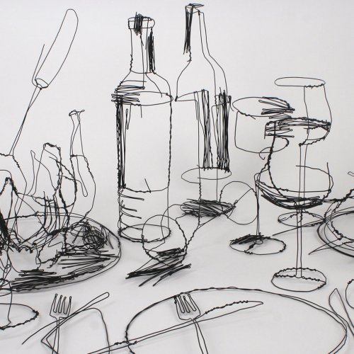 David Oliveira wire scribble sculptures