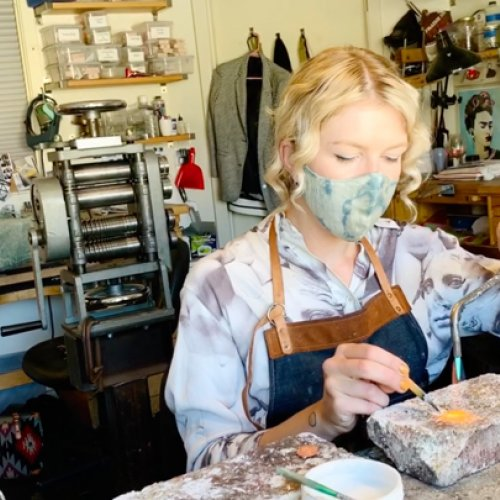 Anna Danilova at work in her studio