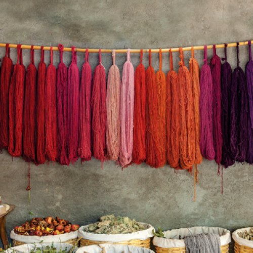Various red yarns by natural dyer Juana Gutierrez Contreras