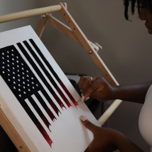 Nneka Jones embroidered flag for Time magazine in progress