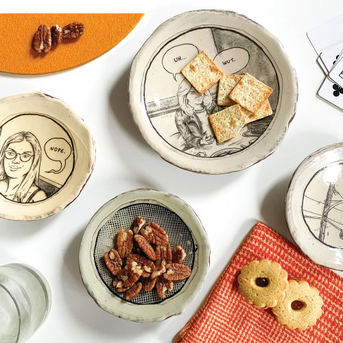 Assorted ceramics by Ian Petrie with snacks and more