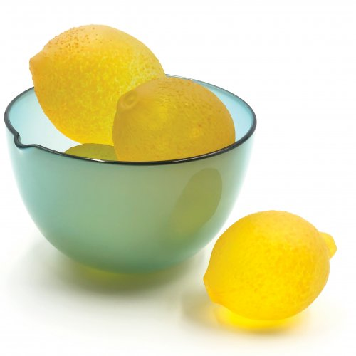 Glass lemons in a glass bowl