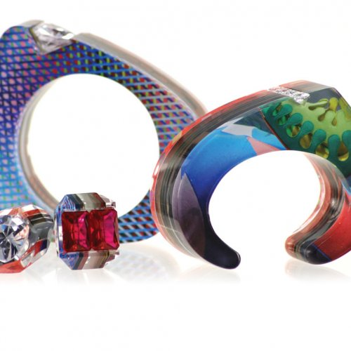 Jennifer Merchant Bangle, cuff, and rings from the Couture Layered Acrylic Colle