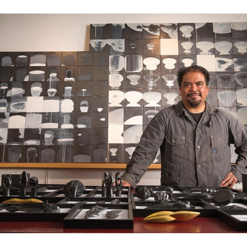 Agelio Batle with an Array of Graphite Objects
