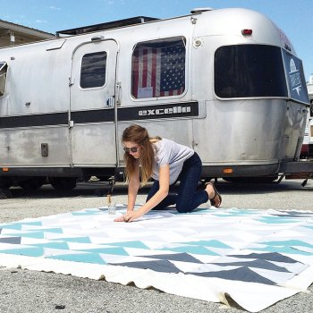 Laura Preston quilting outside