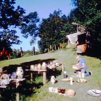 Warren Mackenzie at an early pottery sale outside Stillwater studio