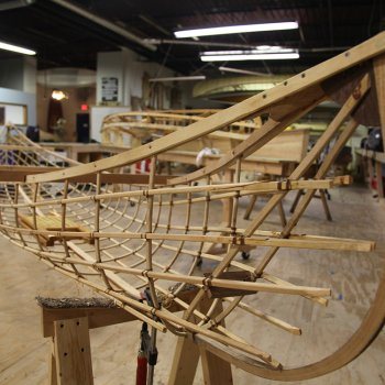 An in-progress canoe at the Urban Boatbuilders workshop